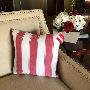 Other - 💕HP💕 Red and white vertical striped pillow